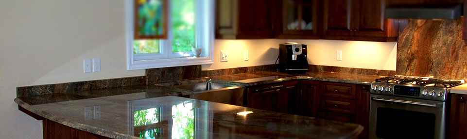 Creme Bordeaux granite kitchen with an ogee edge